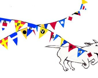 Bull Terrier Birthday Card with Nautical Bunting