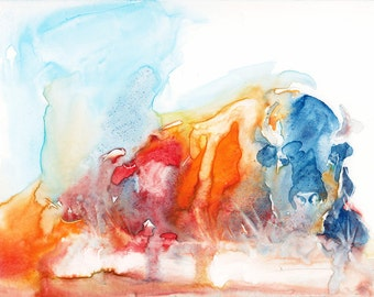 Bison Painting, Animal, Contemporary Original Fine Art, Watercolor Painting of a Lying down Colorful Buffalo