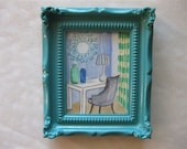 ACEO Original Watercolor of Interior, Framed, by Shannon Olson