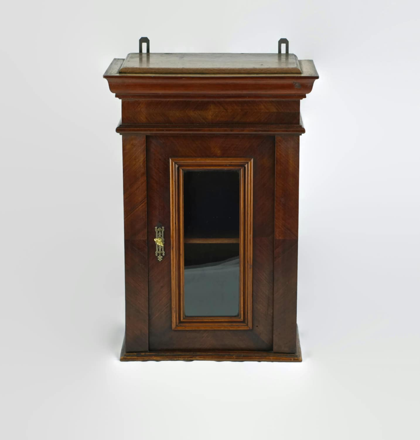 Antique lockable wooden wall cabinet with inset glass door