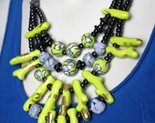 Chartreuse Statement Necklace / Gray and Chartreuse Coral Jewelry
