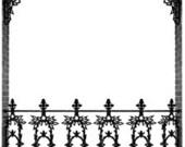 Wrought Iron Rail Decorative Ornate Border French Quarter New Orleans Lace - Digital image - Vintage Art Illustration - Instant Download