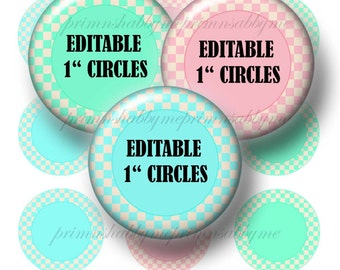 Editable 1 Inch Circle, Bottle Cap Images, Printable, Digital Collage Sheet, Instant Download, Pink and Blue, Checkerboard Pattern