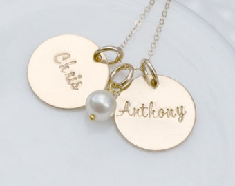 Hand Stamped Custom Necklace - 14K Gold Filled Personalized Jewelry - Gold Name Necklace with Pearl