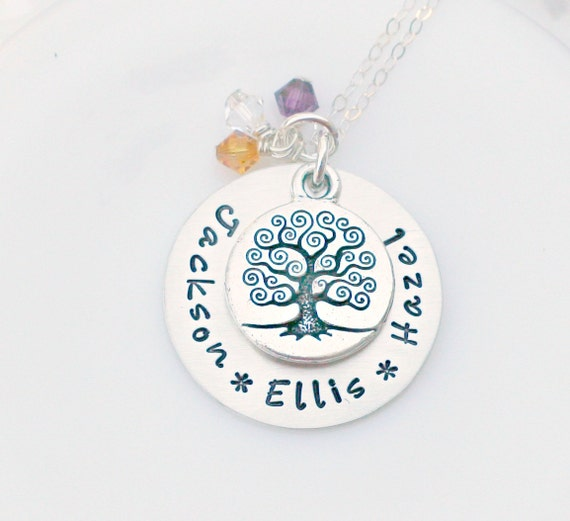 Family Tree Necklace - Personalized Jewelry - Hand Stamped Family Tree - Custom Jewelry - Birthstone Necklace - Mothers Day Gift