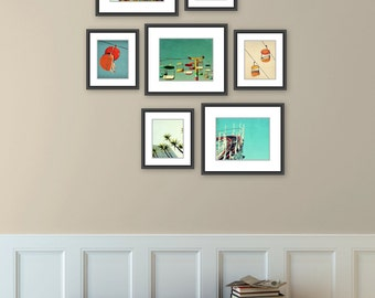 Santa Cruz art // beach art prints // art print set // gallery wall set - Santa Cruz Boardwalk, set of seven art prints