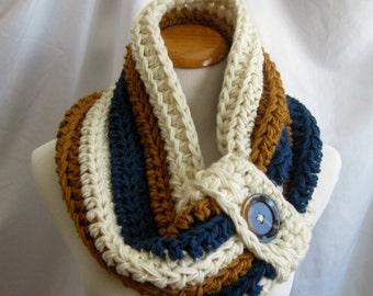 Cowl PATTERN Chunky Bulky Button Crochet Cowl: Off White, Windsor Blue, Honey Brown - DIGITAL PATTERN