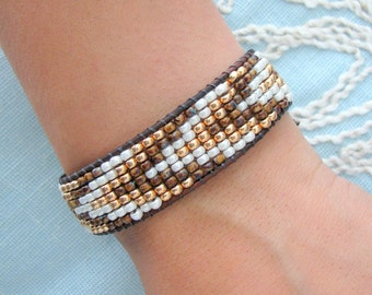Golden Chevron Wrap Bracelet with Black Brown Leather and Button Clasp