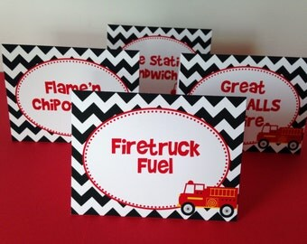 8 Firetruck Personalized and Printed  Food Label Tent Cards - Placecards