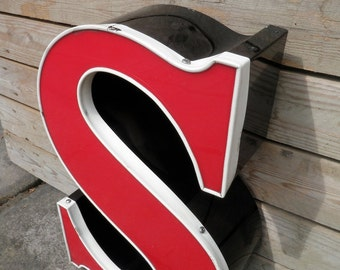 "19"" Reclaimed Sign Block Letter ""S"",Home Decor,Industrial Salvage,Font,Neon."