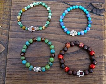 SET OF 4, Stretch Bracelets, Healing Hand Bracelet