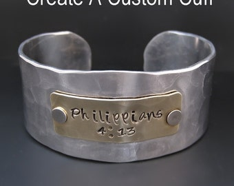 Personalized Silver Bracelet - Custom - Hand Stamped Cuff - 1 inch