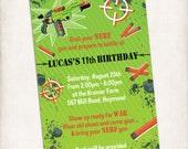 NERF Birthday Invitation, DIGITAL FILE, Personalized Printable, Nerf Combat, Nerf War, Battle, Camo, Target, Green Orange Mud