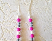 Pink, White, and Grey Teething Necklace/Nursing Necklace with Silicone Beads and Wooden Beads