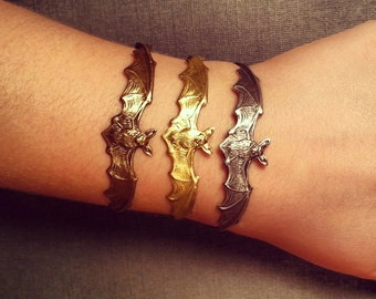 Halloween Jewelry - Bat Wing Bracelet - Silver or Brass