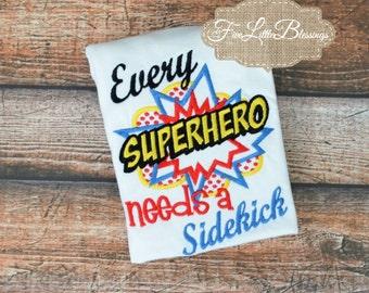 Superhero needs a sidekick - Big brother - new baby - baby shower gift - big bro -