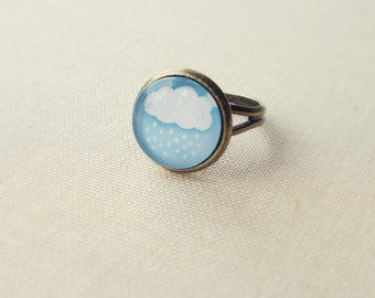 Cloud Ring. Sky Blue Ring. Adjustable Glass Ring.