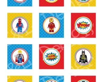 """SuperHero Birthday 2"""" Cupcake Toppers and Wrappers, Superhero Birthday Party, Instant Download, Printable"""