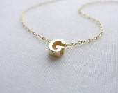 Tiny Gold Letter Necklace - gold initial necklace - 1101