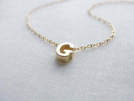 Gold Capital Letter Necklace, Initial Necklace, Personalized Necklace ...