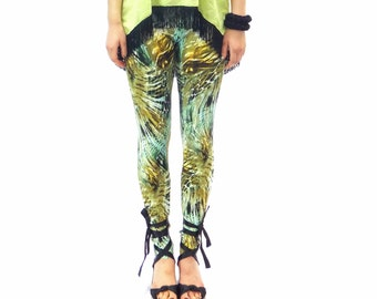 40% SALE Jungle print leggings in shades of green yellow and brown