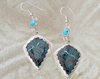 Turquoise and Chrysocolla earrings in Sterling silver.   Blue Lagoon