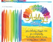 Rainbow Party Invitation - Rainbow Art Party - Melted Crayon Art Party - DIY Printable Birthday Invite - Made to Order - Printed Invitations