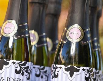 Black Tie Printable Mini Champagne Bottle Wraps - DIY Print - Wedding or Bridal Shower Champagne Brunch