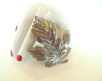 Vintage Clip Brooch Leaf Silver 50's (item 214)