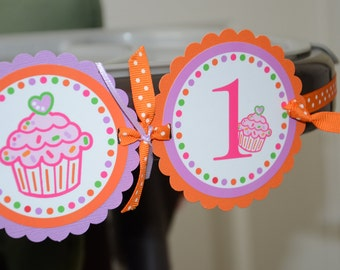 Cupcake I am 1 Banner, Birthday Party, Cupcake Theme, 1st Year Party, Highchair Banner
