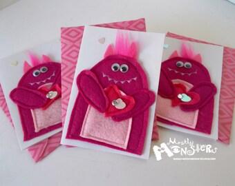 Blank felt applique Monster greeting card LOVE MONSTER in Pink single card