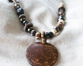 Brown Black Tan and Cream Wood Bone Beaded Necklace with Silver Fancy Clasp