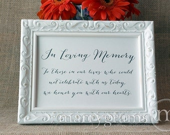 In Loving Memory Sign Table Card - Wedding Reception Seating Signage - Family Photo Table Sign - Matching Numbers Available White Ink- SS09