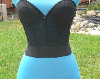 black boned strapless low back corset size 34b