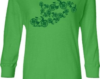 SALE! Women's Bicycle Shirt-Dancing Bicycles-Lighweight hooded t-shirt in Lime Green