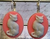 Earrings with a Gray Kitty Cat on a Pink Colored Cameo on Lever Back Hooks