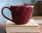 Coffee Cup - Stoneware Pottery Mug - Blackberry - Modern Lace Design - OOAK - Ready to Ship