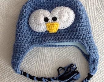 Blue Penguin Hat with Fleece Lining, Child Animal Hat, Penguin Hat, Crochet Baby Hat, Winter Hat, Baby Hat, Newborn Hat, Child Hat