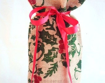 Burlap Wine Bag for Christmas, Wine Tote, Wine Bag with Green Holly & Ribbons, Lovely Hostess Gift