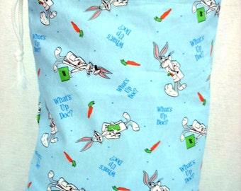 Bugs Bunny Bag, Kids Pajama Bag, Cute Drawstring Bag, Blue with Bugs Bunny, Kids Bags
