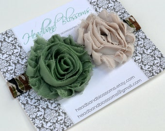 Chic CAMO - Army Green Tan Shabby Frayed Chiffon Flower Rosettes Camouflage Elastic Headband - Newborn Baby Toddler Girl Tween Adult