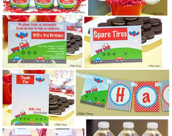 Planes, Trains, & Automobiles Birthday Party Package...Custom, Printable DIY Package
