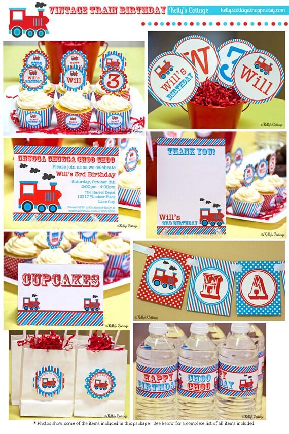 Vintage Train Birthday Party Mini Package...Custom, Printable DIY Package
