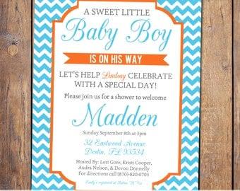 Chevron Boys Baby Shower Invitation, gender neutral, baby shower invitations, gender reveal, digital, printable (item137b)