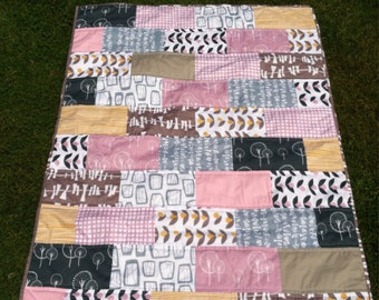 Baby Quilt (gray, pink & yellow)