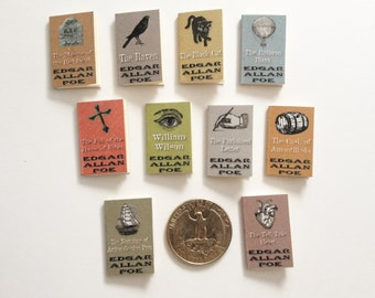 SALE - Miniature Book Collection / Set of Edgar Allan Poe Books / 10 Tiny Books with blank pages / 1:6 scale / playscale mini vintage Gothic