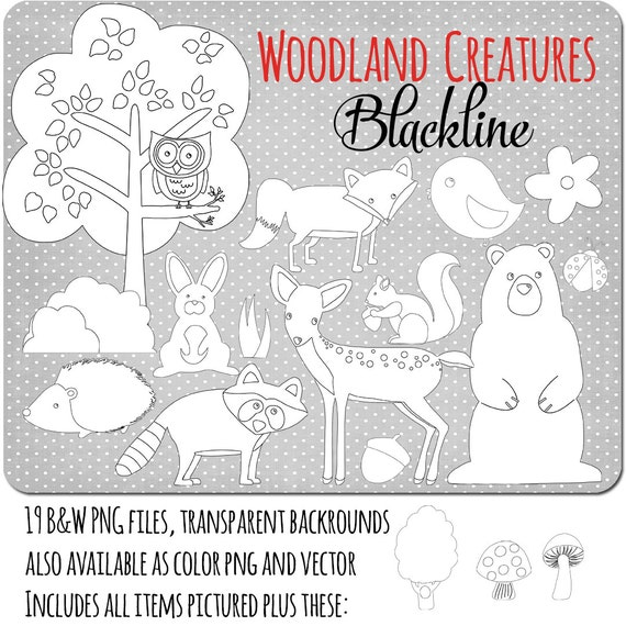 Woodland Animals Clip Art Black And White Woodland Animals Black Amp White