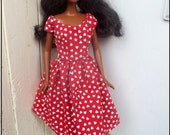 Barbie Clothes Dress Vintage Style Red Dress with White Heart Print Valentine's Day