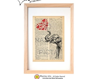 Elephant with red hearts dictionary print-Elephant art print-Elephant on book page-Upcycled Vintage Dictionary art- by NATURA PICTA