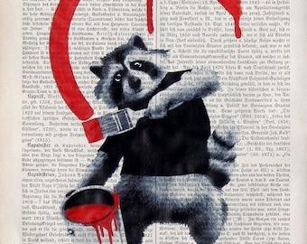 Raccoon Art Print RACCOON The Artist original Giclee Print Raccoon Illustration Painting